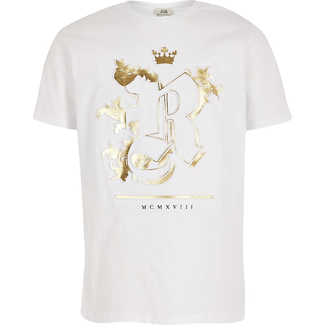 T-shirt blanc à logo RI en relief pour garçon
