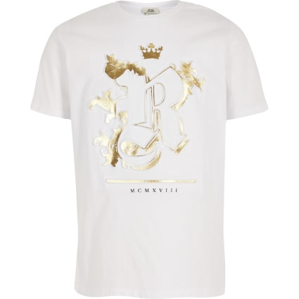 Boys white RI embossed T-shirt