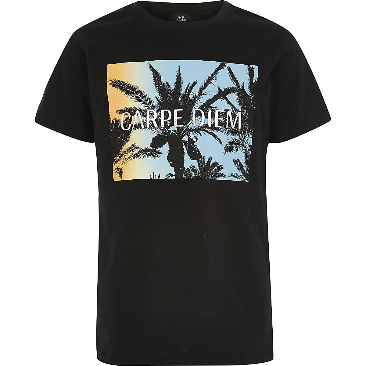 Boys black palm print T-shirts