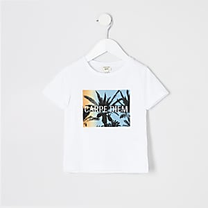 Mini boys white palm print T-shirt