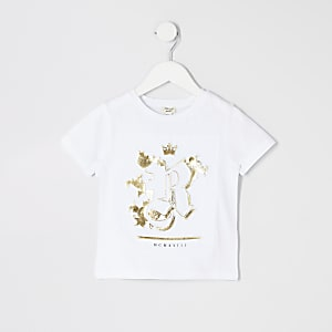Weißes T-Shirt mit RI-Prägung