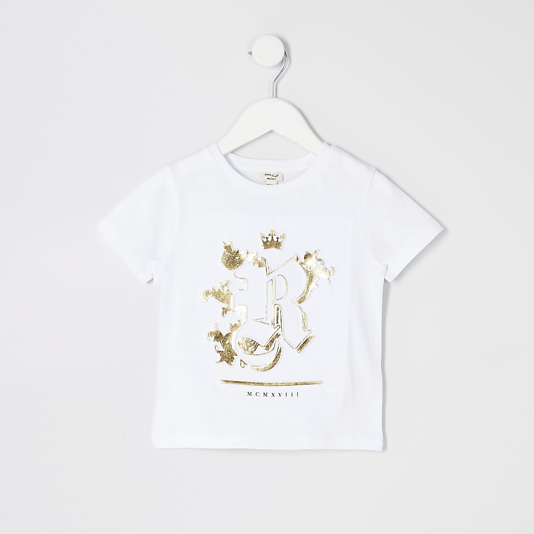 Mini boys white RI embossed T-shirt