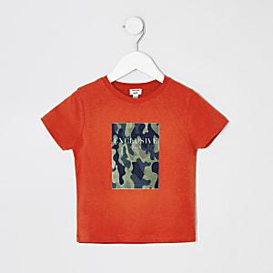 Mini - Oranje T-shirt met camouflageprint voor jongens