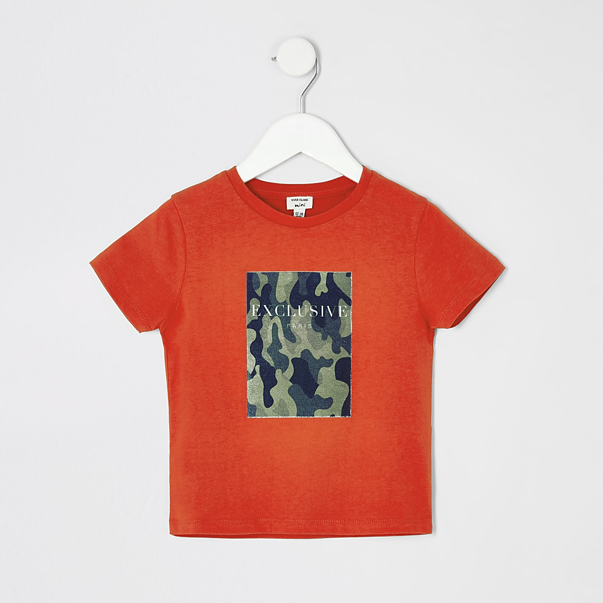 Mini boys orange camo T-shirt