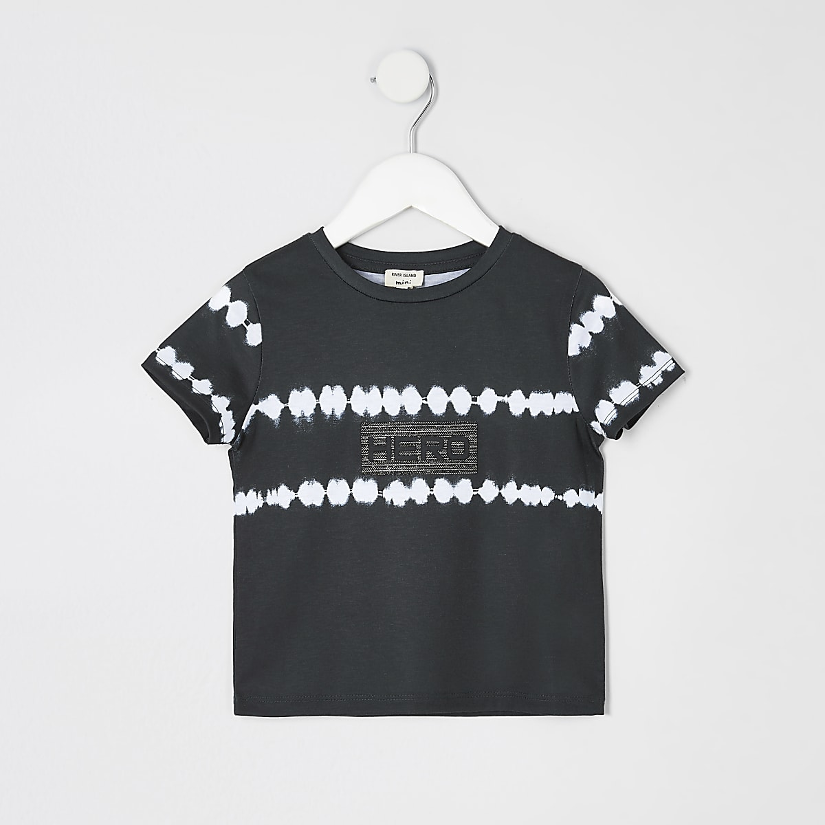 Mini boys black tie dye T-shirt