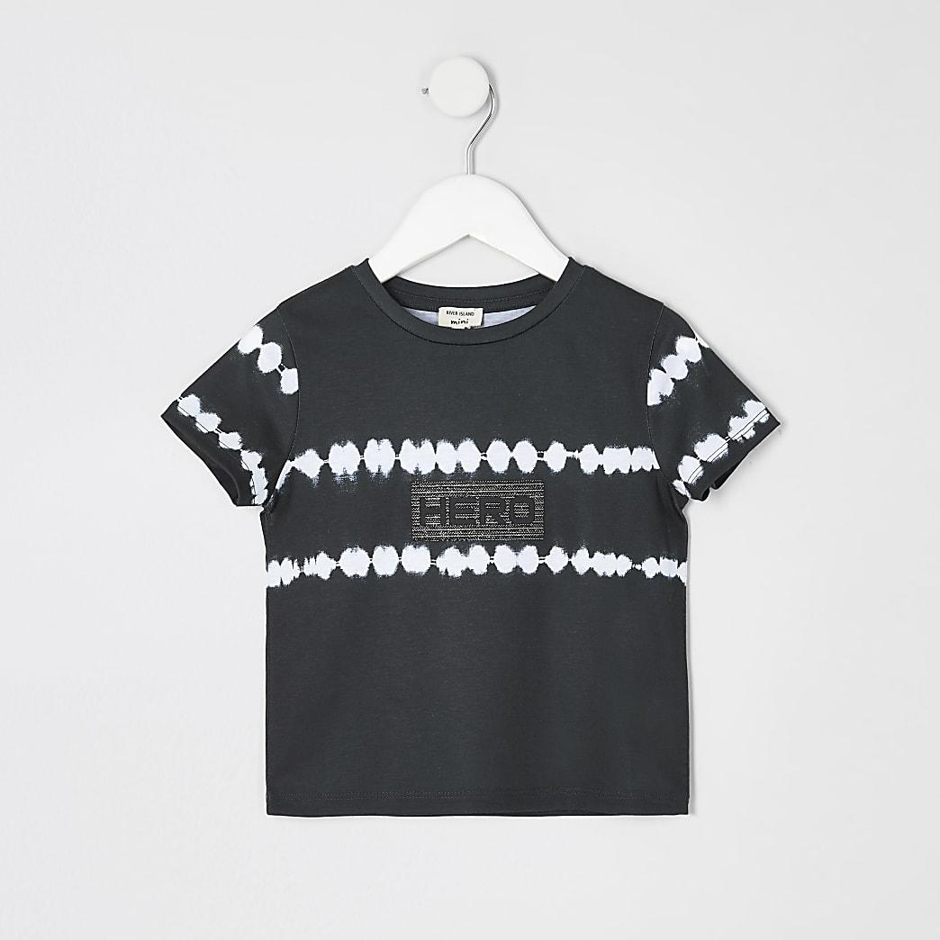 Mini boys black tie dye T-shirt
