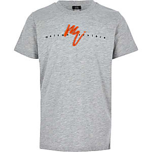 Boys grey neon 'Maison Riviera' T-shirt