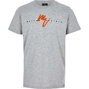 T-shirt «Maison Riviera» gris à logo fluo pour garçon