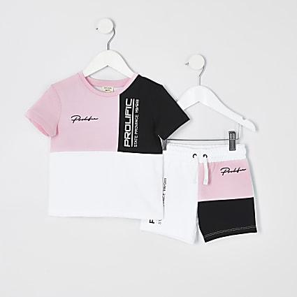 Mini boys pink block Prolific short outfit