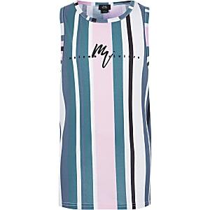 Blauw gestreept hemdje met 'Maison Riviera'-print voor jongens