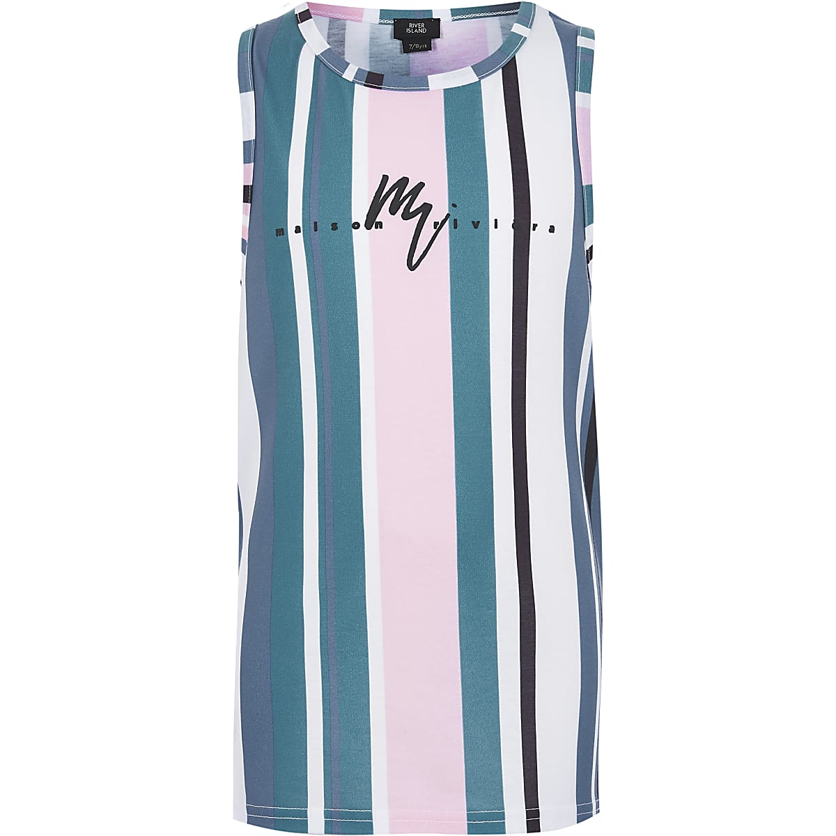 Boys blue stripe 'Maison Riviera' tank