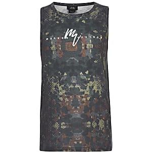Kaki hemdje met camouflage- en 'Maison Riviera'-print voor jongens