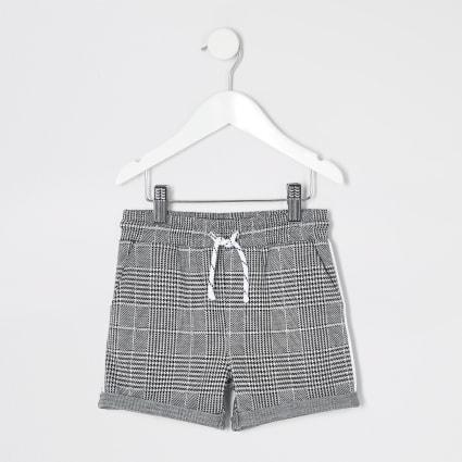 Mini boys grey check jersey shorts