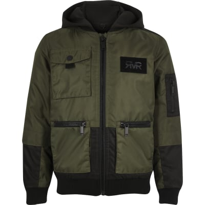 Boys Khaki Utility Hooded Bomber Jacket by River Island