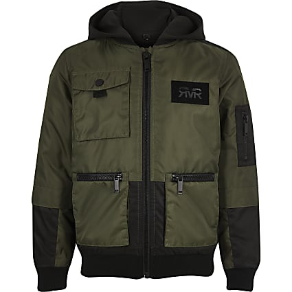 Boys khaki utility hooded bomber jacket
