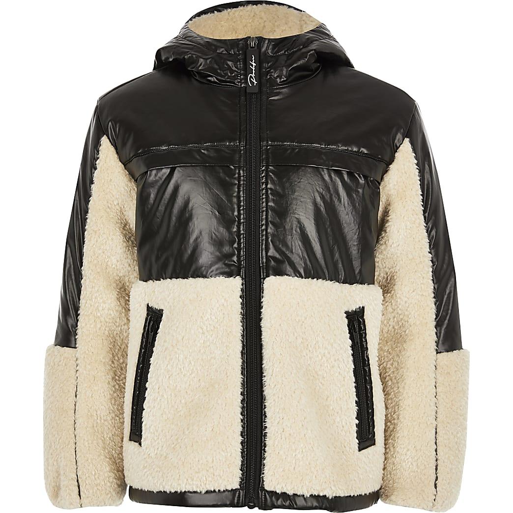 Boys black Prolific borg puffer jacket