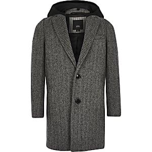 Klassischer Mantel in Grau mit Kapuze und Fischgräten-Muster für Jungen