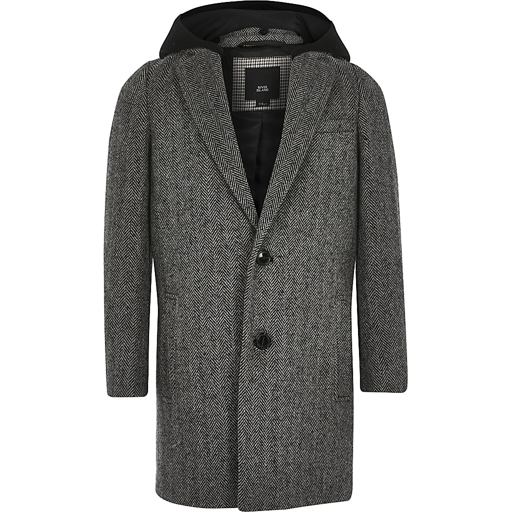 Boys grey herringbone hooded overcoat
