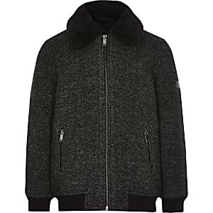 Dunkelgrauer Mantel mit Fleece-Kragen für Jungen