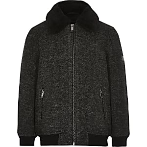 Donkergrijze jas met borgkraag voor jongens