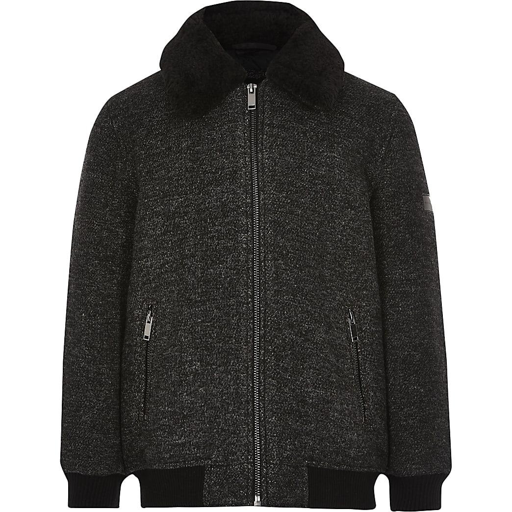 Manteau gris foncéavec col borg pour garçon