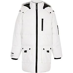 Weiße, wattierte Longline-Jacke für Jungen
