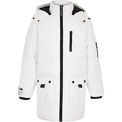 Boys white longline puffer jacket
