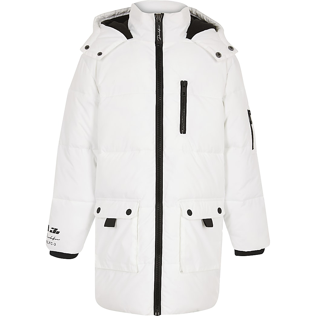 Boys white longline puffer jacket