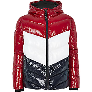 Boys red Prolific colour blocked puffer coat