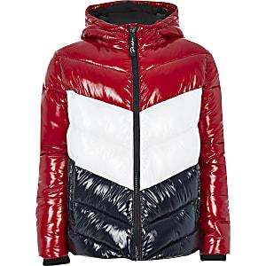 Prolific - Rode gewatteerde jas met kleurvlakken voor jongens