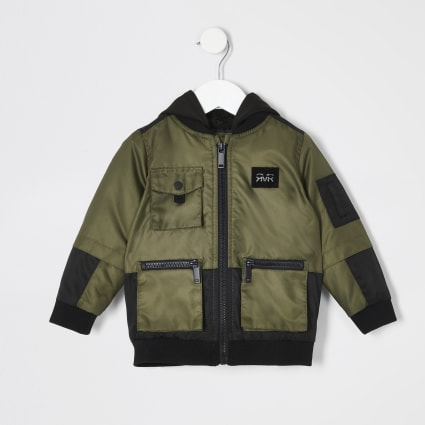 Mini boys khaki utility hooded bomber jacket