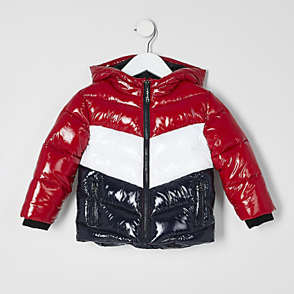 Mini boys red Prolific blocked puffer coat