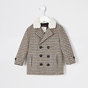 Mini garçon - Manteau à carreaux marron avec col imitation peau de mouton
