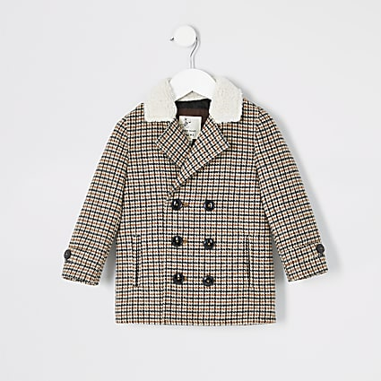 Mini boys brown check fleece collar coat