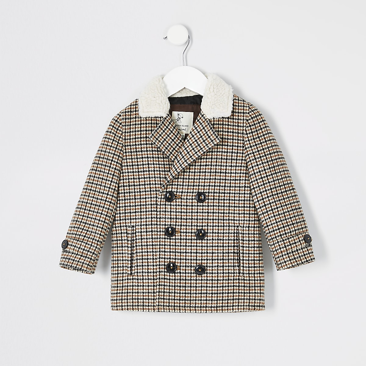 Mini boys brown check borg collar coat