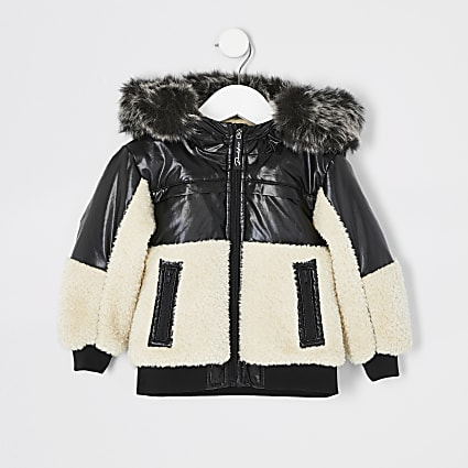 Mini boys black Prolific borg puffer jacket