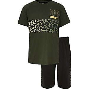 Pyjama-Set in Khaki mit Leoparden-Print