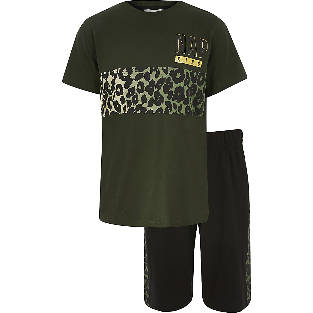 Boys khaki leopard printed pyjamas