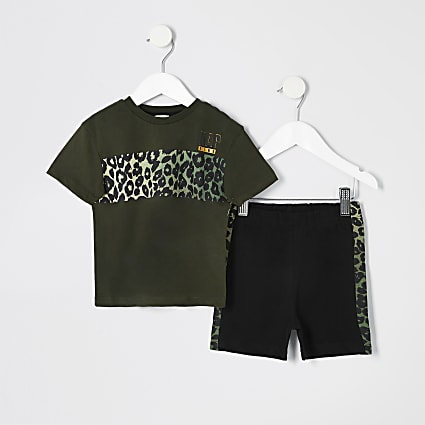 Mini boys khaki leopard print pyjama set