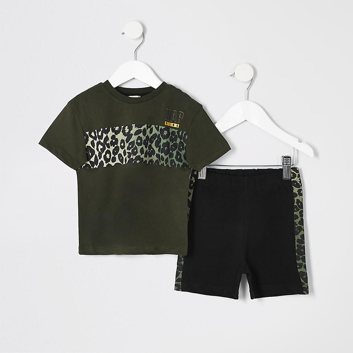 Mini boys khaki leopard print pyjama set