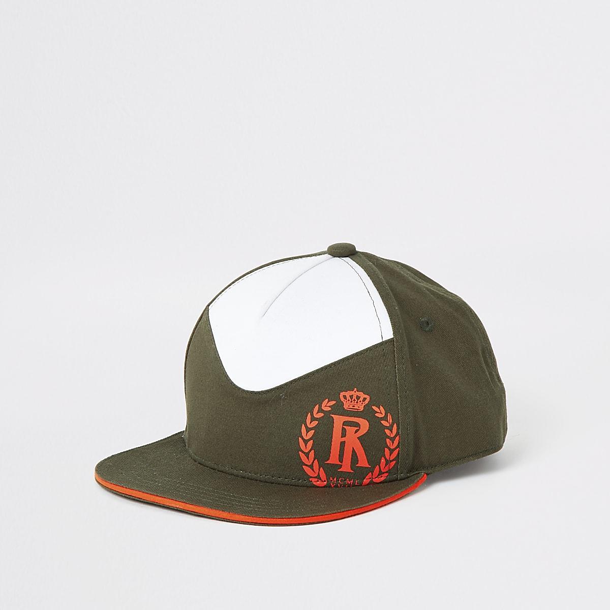 Boys khaki flat peak cap