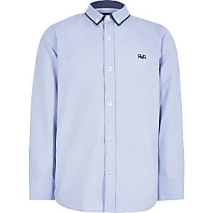 Chemise motif chevrons bleue pour garçon