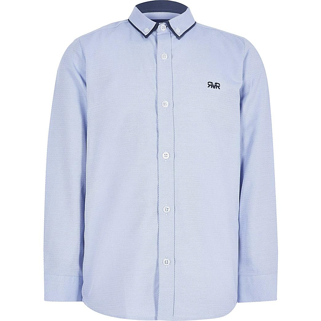 Blauw overhemd met visgraatmotief voor jongens
