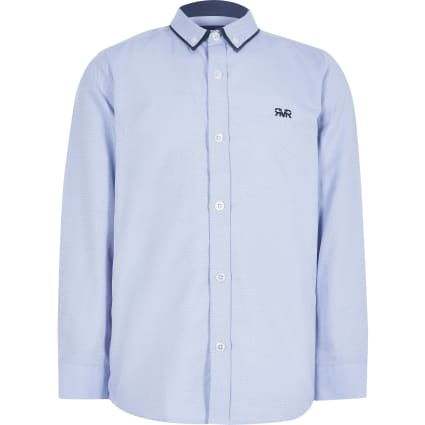 Boys blue herringbone shirt