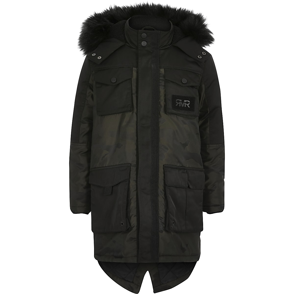 Boys khaki camo faux fur hooded parka