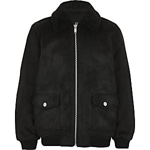 Schwarze Jacke aus Wildlederimitat mit Borg-Kragen für Jungen