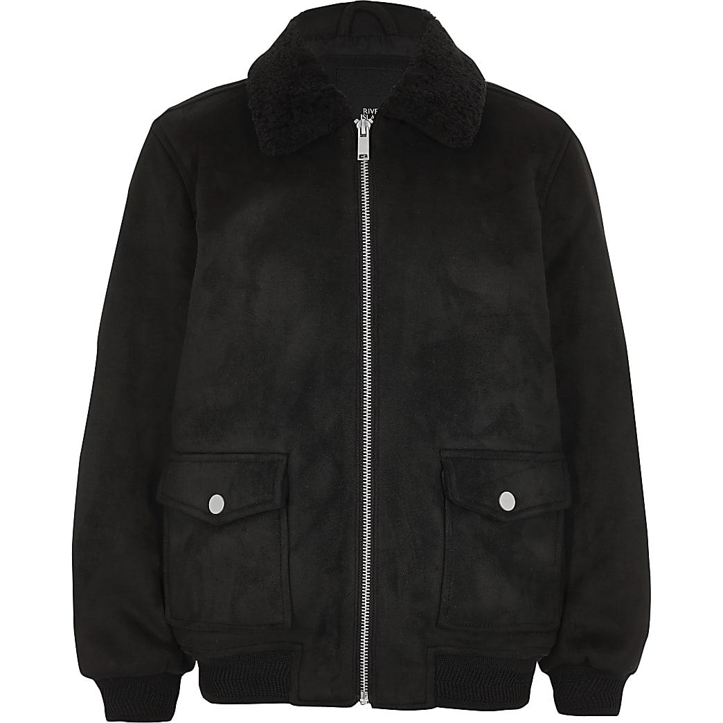 Boys black faux suede borg collar jacket