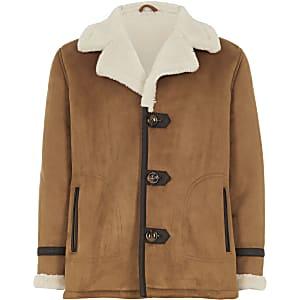Veste en suédinebrun roux avec doublure imitation mouton pour garçon