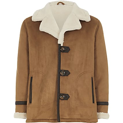 Boys tan borg lined faux suede jacket