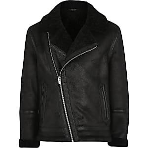 Schwarze Jacke aus Wildlederimitat mit Borgfutter für Jungen